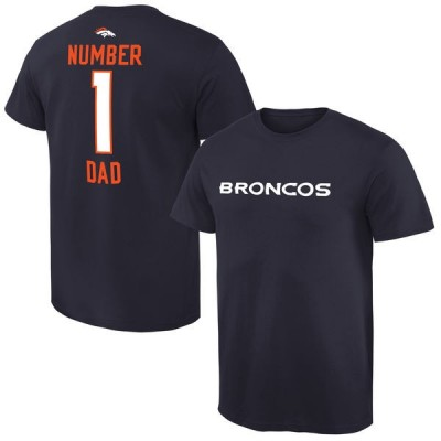 NFL Denver Broncos Mens Pro Line Navy Blue Number 1 Dad T-shirt