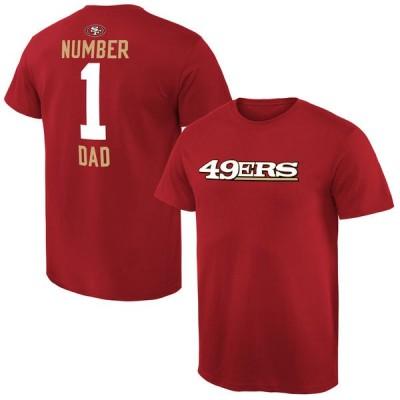 NFL San Francisco 49ers Mens Pro Line Scarlet Number 1 Dad T-shirt