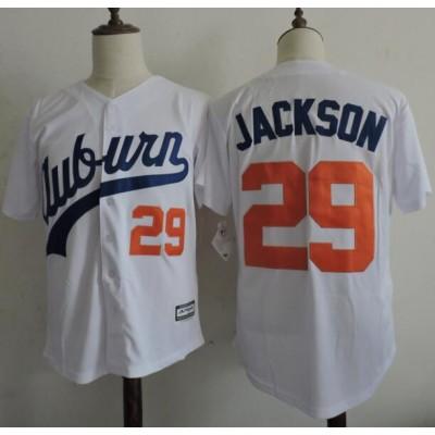 NCAA Auburn Tigers 29 Bo Jackson White Baseball Men Jersey