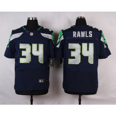 Nike Seahawks 34 Thomas Rawls Steel Blue Team Color Men Elite Jersey