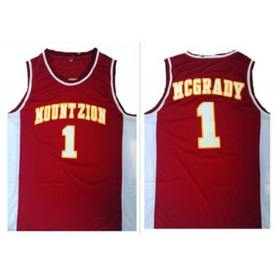 High School Magic 1 Tracy Mcgrady Red Mount Zion Christian Academy NBA Men Jersey