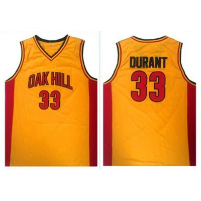 High School Oak Hill Academy 33 Kevin Durant Gold NBA Men Jersey