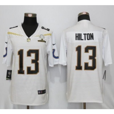 Nike Colts 13 T.Y. Hilton White 2016 Pro Bowl Team Rice Mens Stitched NFL Elite Jersey