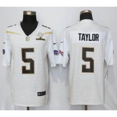 Nike Bills 5 Tyrod Taylor White 2016 Pro Bowl Team Rice Mens Stitched NFL Elite Jersey