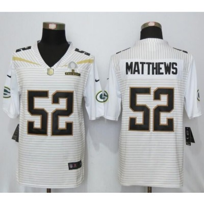 Nike Packers 52 Clay Matthews White 2016 Pro Bowl Team Rice Elite Jersey