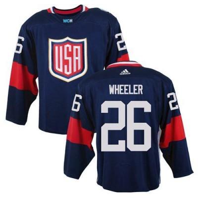 Hockey Team USA 26 Blake Wheeler Navy Blue 2016 World Cup Men Jersey