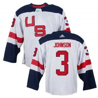 Hockey Team USA 3 Jack Johnson White 2016 World Cup Men Jersey