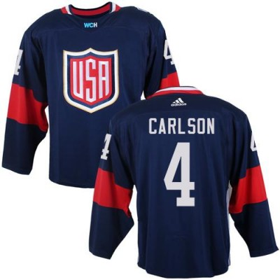 Hockey Team USA 4 John Carlson Navy Blue 2016 World Cup Men Jersey