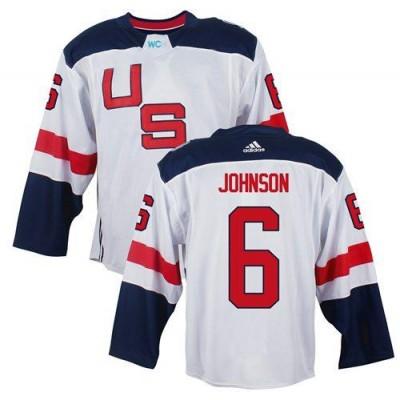 Hockey Team USA 6 Erik Johnson White 2016 World Cup Men Jersey