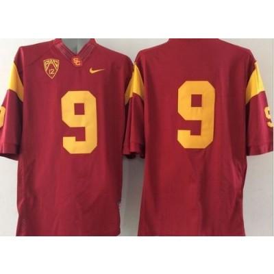 NCAA USC Trojans 9 Red PAC-12 Patch Men Jersey