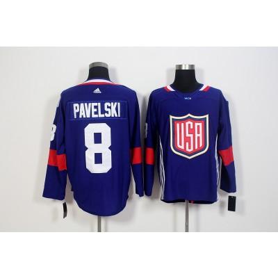 Hockey Team USA 8 Joe Pavelski Navy Blue 2016 World Cup Men Jersey