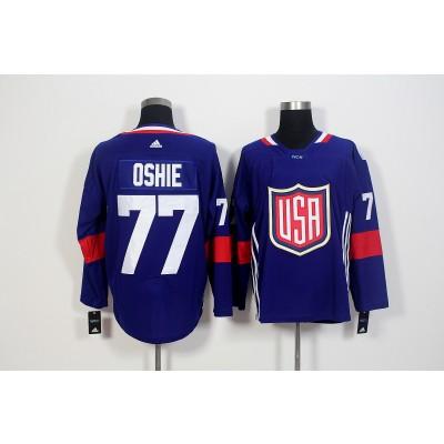 Hockey Team USA 77 T.J. Oshie Navy Blue 2016 World Cup Men Jersey