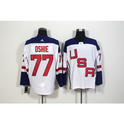 Hockey Team USA 77 T.J. Oshie White 2016 World Cup Men Jersey