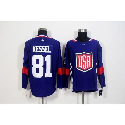 Hockey Team USA 81 Phil Kessel Navy Blue 2016 World Cup Men Jersey
