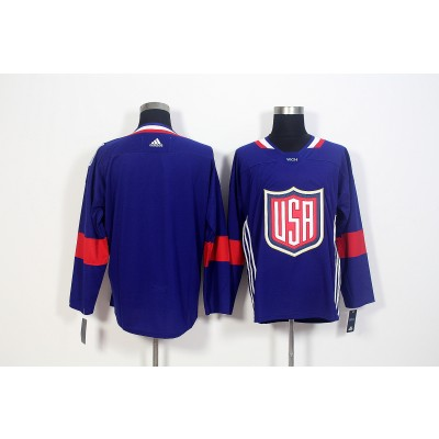 Hockey Team USA Blank Navy Blue 2016 World Cup Men Jersey