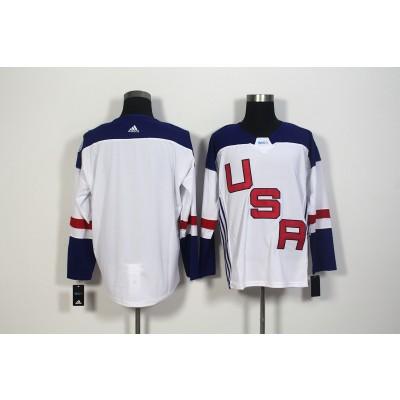 Hockey Team USA Blank White 2016 World Cup Men Jersey