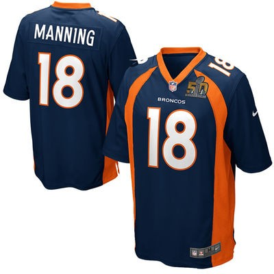 Youth Nike Broncos 18 Peyton Manning Navy 2016 Super Bowl 50 Game Jersey