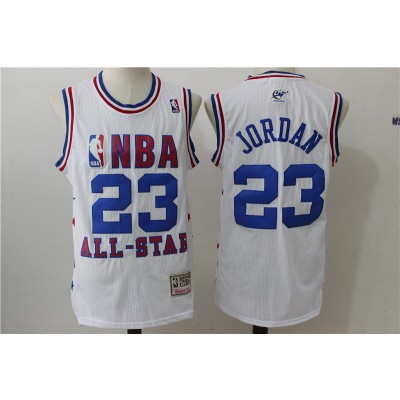 NBA Wizards 23 Michael Jordan 2003 All Star White Mitchell And Ness Men Jersey
