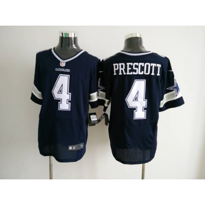 Nike NFL Cowboys 4 Dak Prescott Navy Blue Elite Men Jersey