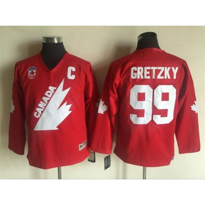 Hockey 1991 Team Canada 99 Wayne Gretzky C Patch Red CCM Throwback Youth Jersey