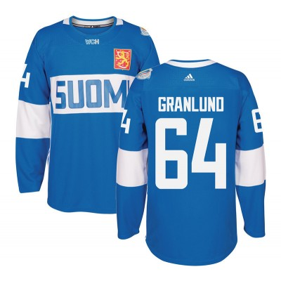 Hockey Team Finland 64 Mikael Granlund 2016 World Cup Of Light Blue Men Jersey