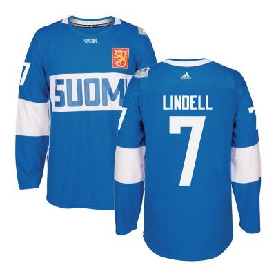 Hockey Team Finland 7 Esa Lindell 2016 World Cup Of Light Blue Men Jersey