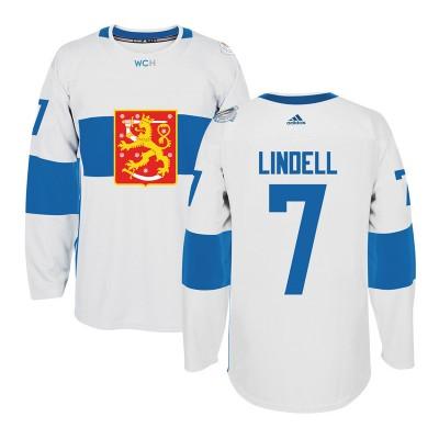 Hockey Team Finland 7 Esa Lindell 2016 World Cup Of White Men Jersey