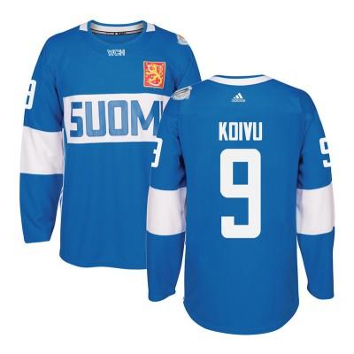 Hockey Team Finland 9 Mikko Koivu 2016 World Cup Of Light Blue Men Jersey