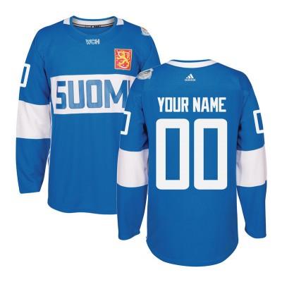 Team Finland 2016 World Cup Of Hockey Light Blue Customized Men Jersey
