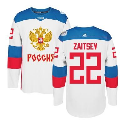 Hockey Team Russia 22 Nikita Zaitsev 2016 World Cup Of White Men Jersey