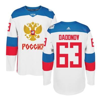 Hockey Team Russia 63 Evgenii Dadonov 2016 World Cup Of White Men Jersey