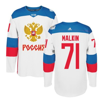 Hockey Team Russia 71 Evgeni Malkin 2016 World Cup Of White Men Jersey