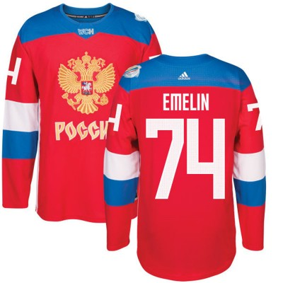 Hockey Team Russia 74 Alexei Emelin 2016 World Cup Of Red Men Jersey