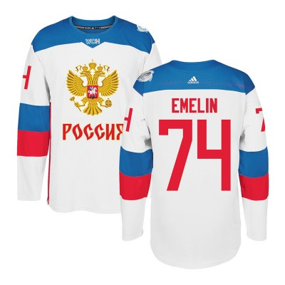 Hockey Team Russia 74 Alexei Emelin 2016 World Cup Of White Men Jersey