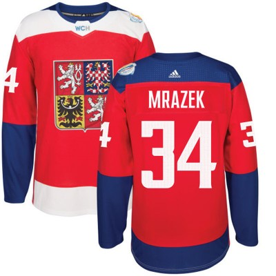 Hockey Team Czech Republic 34 Petr Mrazek 2016 World Cup Of Red Men Jersey