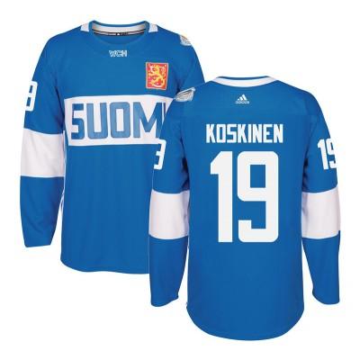 Hockey Team Finland 19 Mikko Koskinen 2016 World Cup Of Light Blue Men Jersey