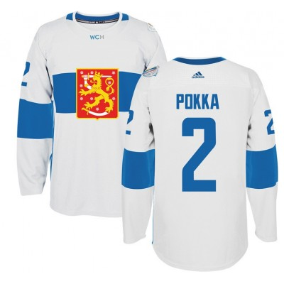 Hockey Team Finland 2 Ville Pokka 2016 World Cup Of White Men Jersey