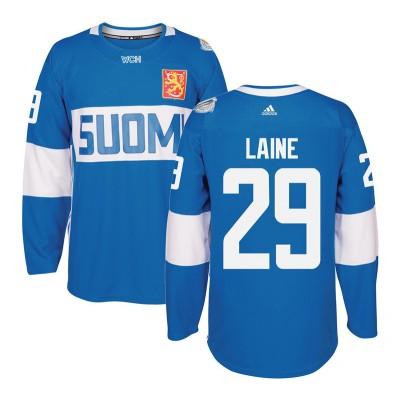 Hockey Team Finland 29 Patrik Laine 2016 World Cup Of Light Blue Men Jersey