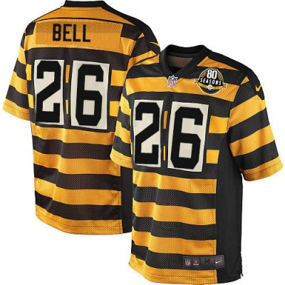 Nike NFL Steelers 26 Le'Veon Bell Gold Black Men Elite Jersey
