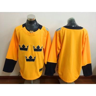 Hockey Team Sweden Blank 2016 World Cup Of Blue Men Jersey