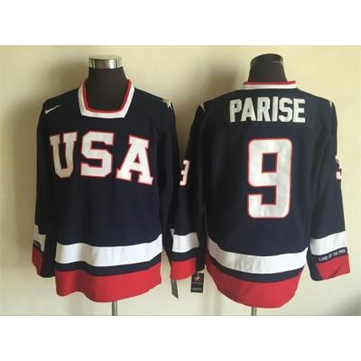 Hockey Team USA 9 Zach Parise Navy Blue 2010 Nike Men Jersey