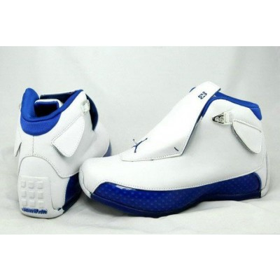Air Jordan 18 White Blue Retro Shoes