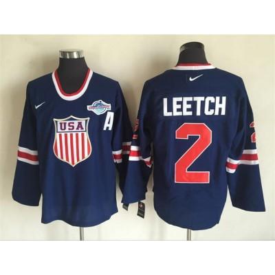 Hockey Team USA 2 Brian Leetch Navy Blue 2014 Nike Throwback Men Jersey