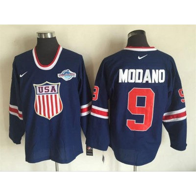 Hockey Team USA 9 Mike Modano Navy Blue 2014 Nike Throwback Men Jersey