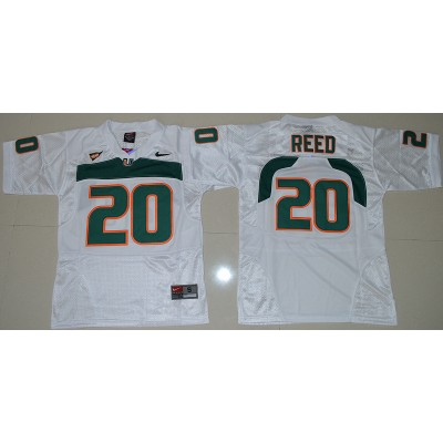 NCAA Miami Hurricanes 20 Ed Reed White 2016-17 Youth Football Jersey