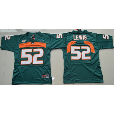 NCAA Miami Hurricanes 52 Ray Lewis Green 2016-17 Youth Football Jersey