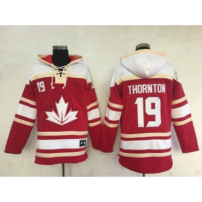 Hockey Team Canada 19 Joe Thornton Red Cream Men Sawyer Hooded Sweatshirt