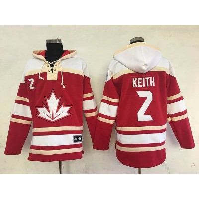 Hockey Team Canada 2 Duncan Keith Red Cream Men Sawyer Hooded Sweatshirt