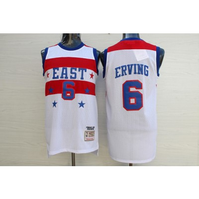 NBA 76ers 6 Julius Erving White 1980 All Star Hardwood Classics Men Jersey