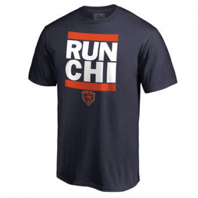 NFL Men Chicago Bears Pro Line Navy Run-Cty T-Shirt